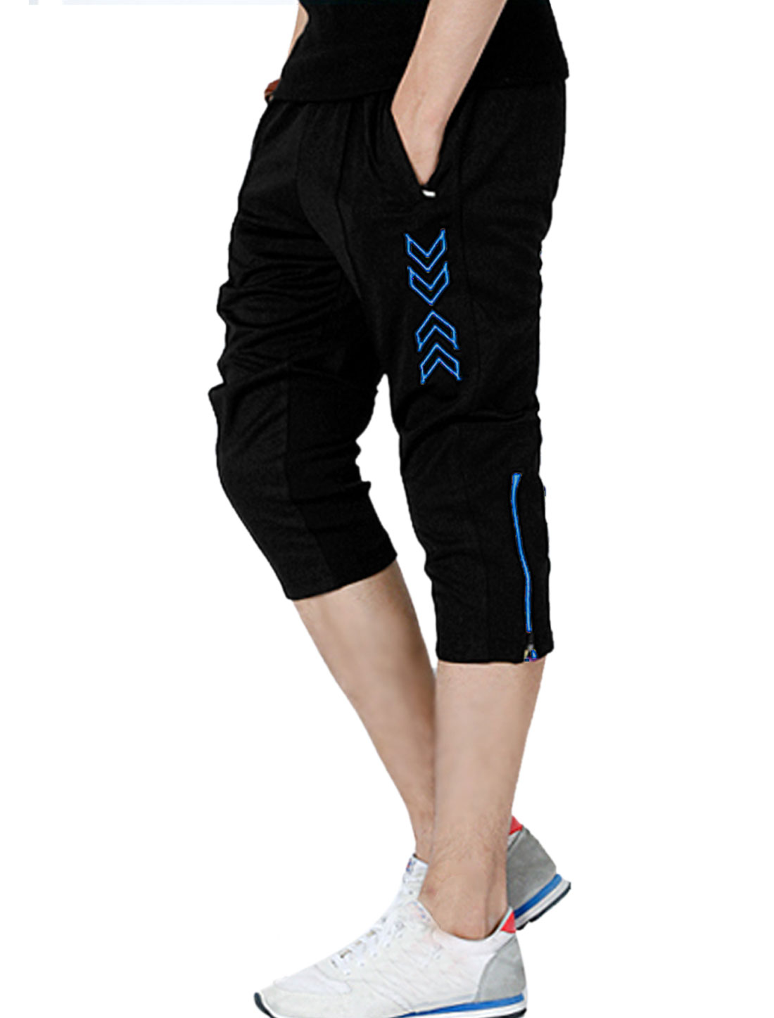 Men Elastic Waist Zipper Decor Capris Pants Blue Black W33