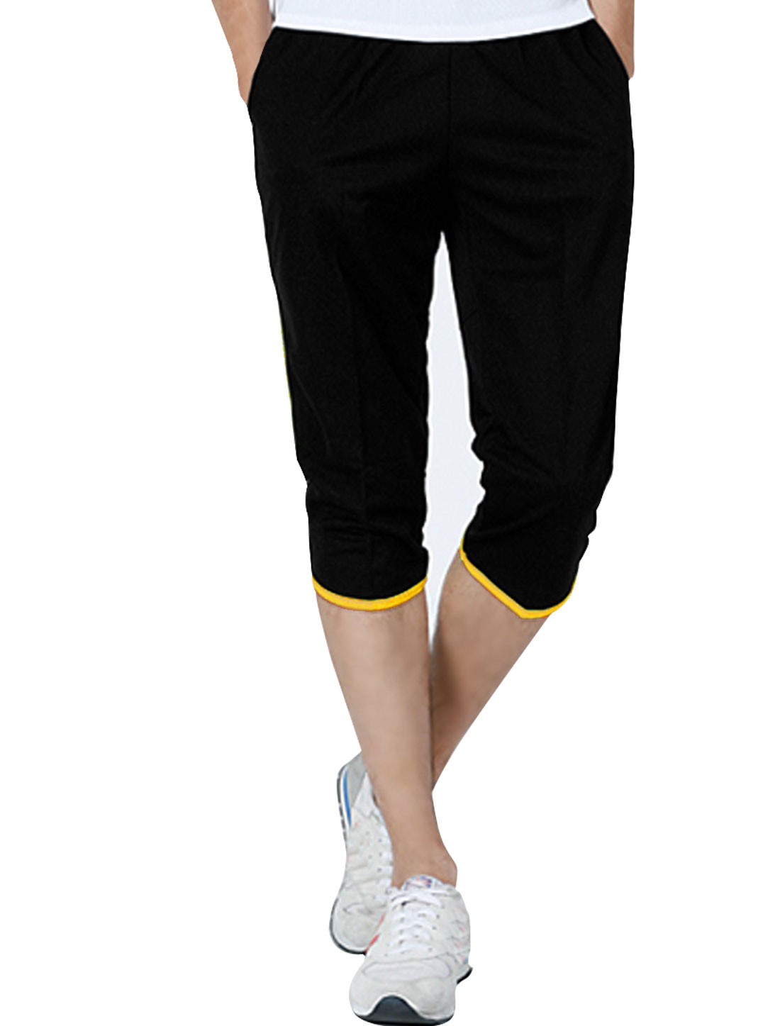 Men Color Block Elastic Waist Slant Pockets Summer Shorts Yellow Black W33