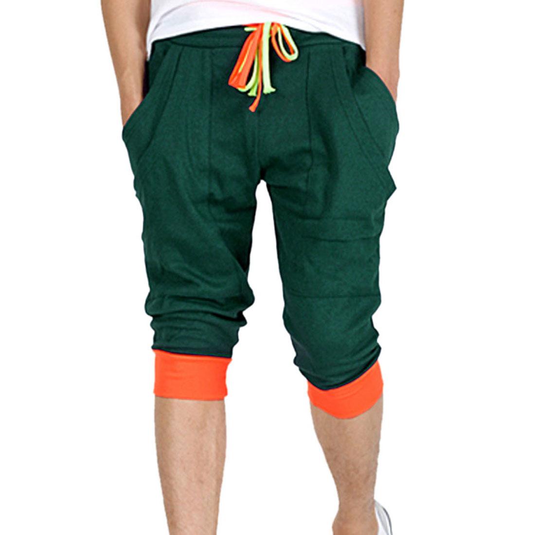 Mens Drawstring Waist Double Front Pockets Design Dark Green Short Pants W32