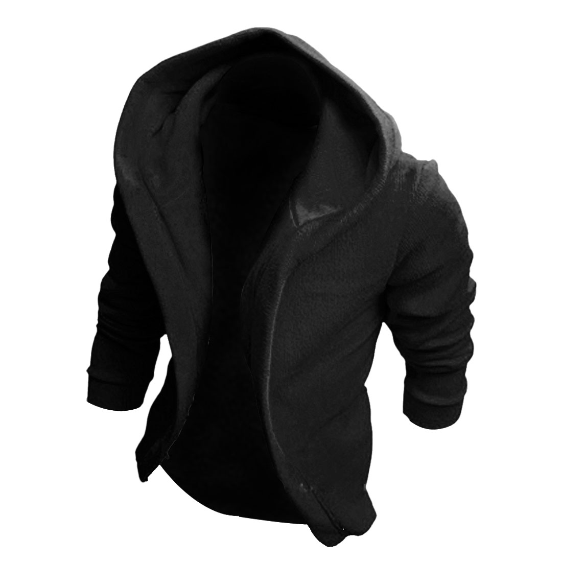 Men Long Sleeve Solid Color Skinny Fit Casual Jackets Hoodies Black M