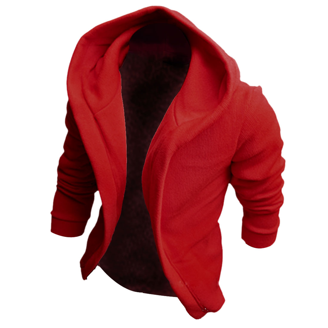 Red M Solid Color Style Long Sleeve Skinny Fit Hoodies Jackets for Men