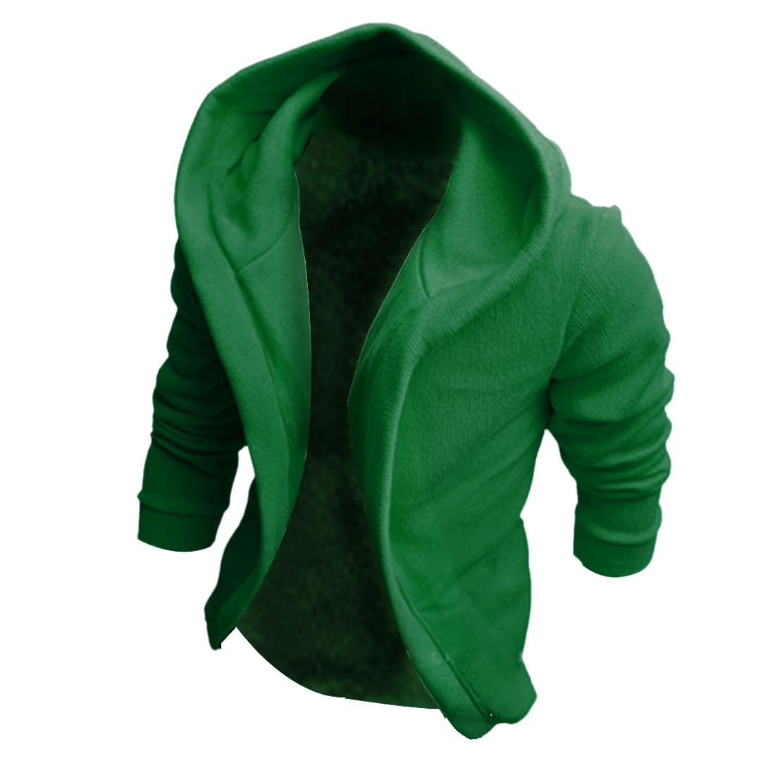 Men Solid Color Long Sleeve Open Front Design Sexy Top Hoodies M Green