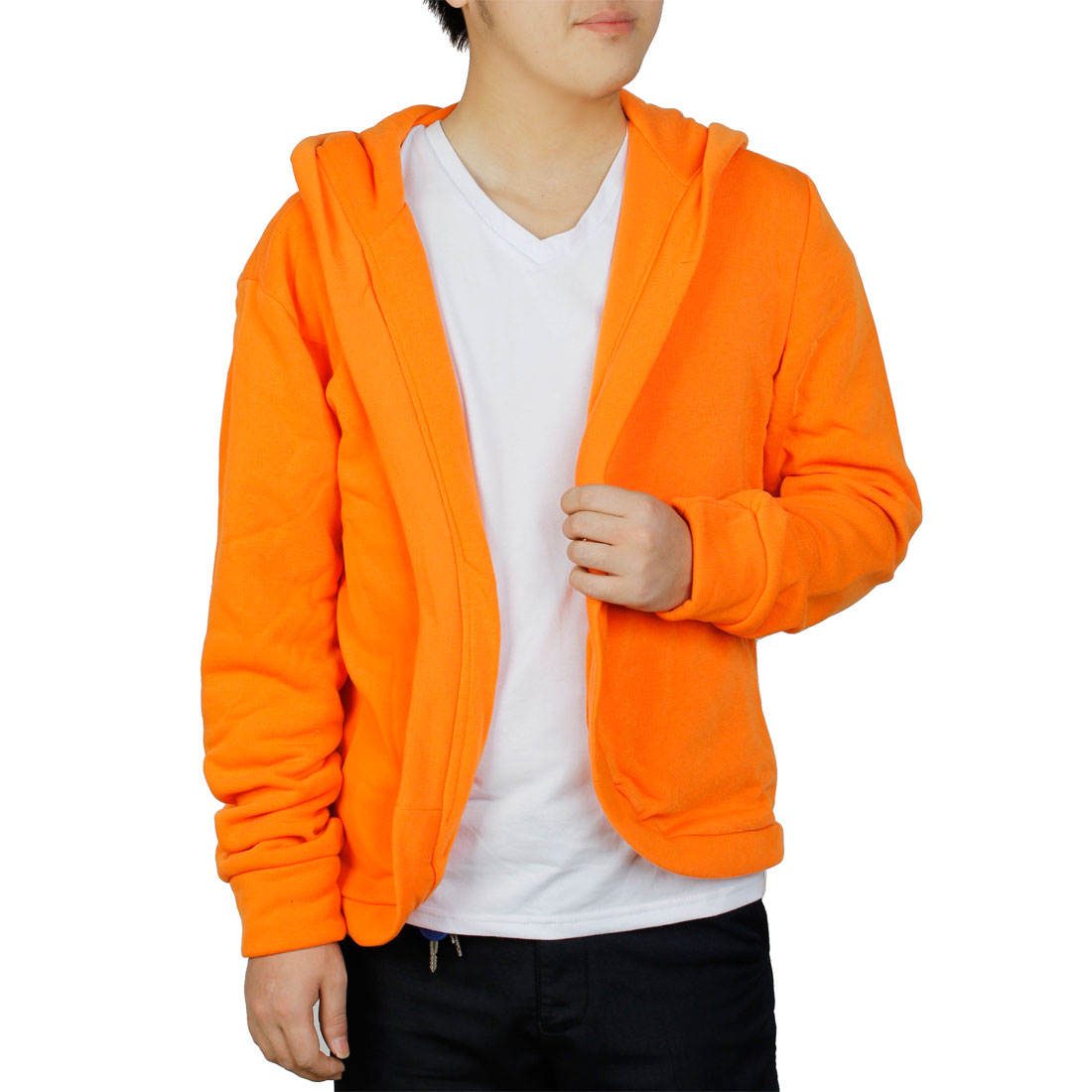 Men Front Opening Long Sleeve Solid Color Casual Jackets Hoodies M Orange