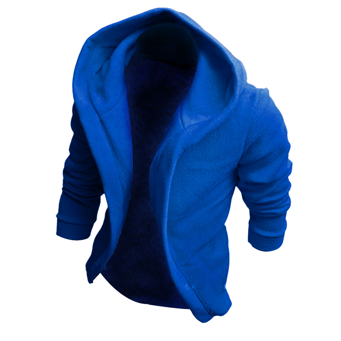 M Blue Fashion Front Opening Slim Fit Stylish Men Casual Hoodies Jackets