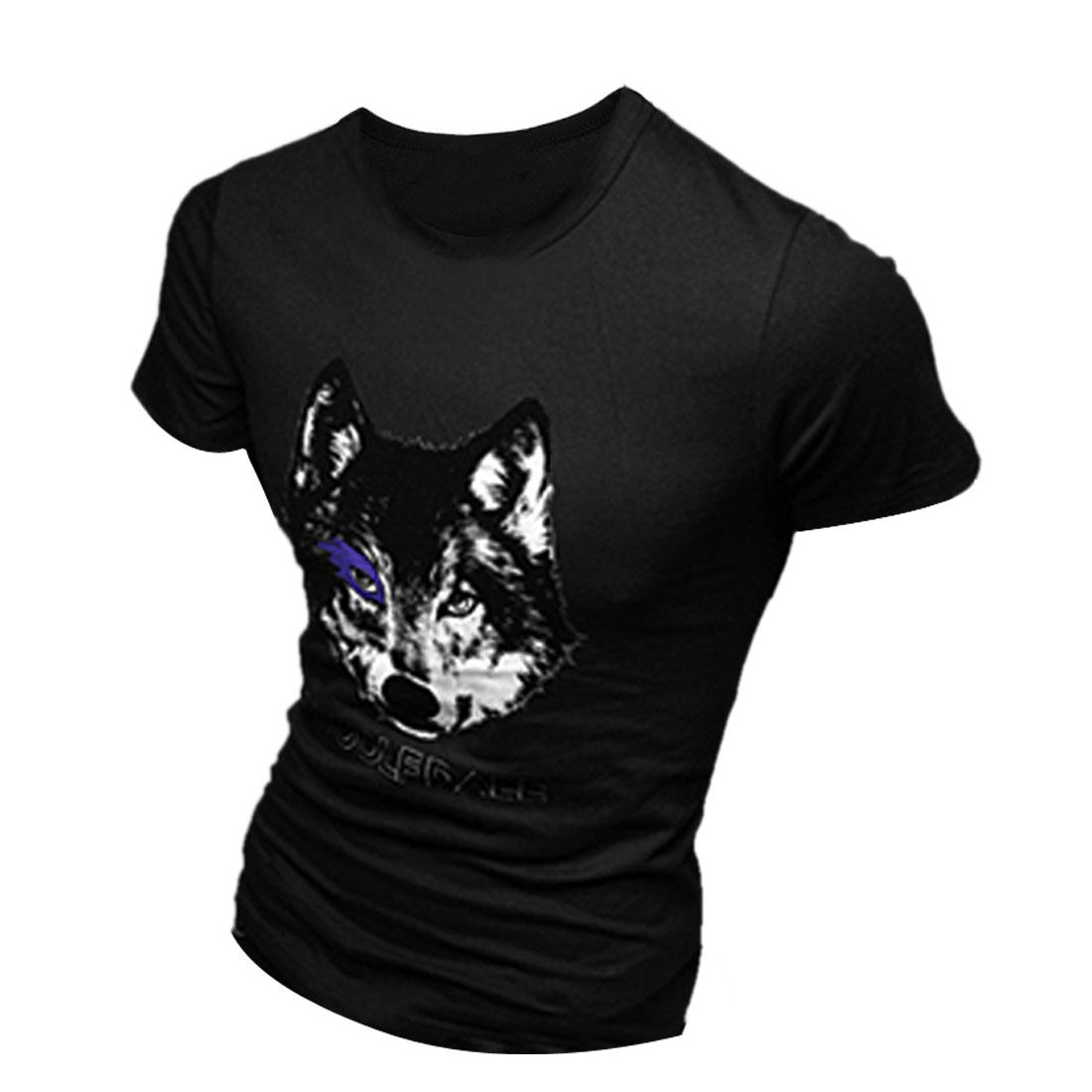 Men Round Neck Pullover Wolf Head Prints T-shirt Black M