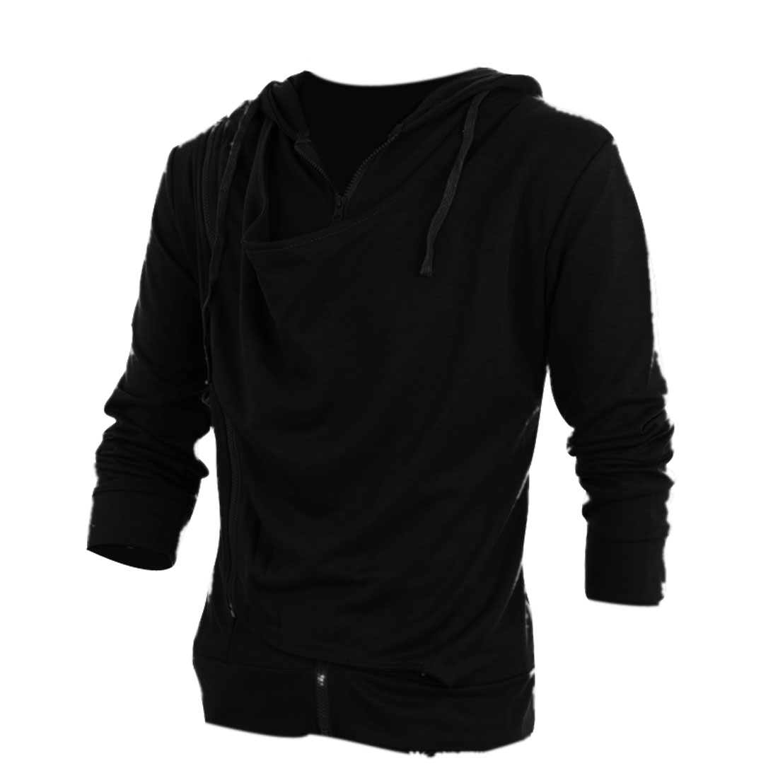 Men Cowl Neck Slim Fit Long Sleeve Style Sexy Top Stylish Hoodies Black M