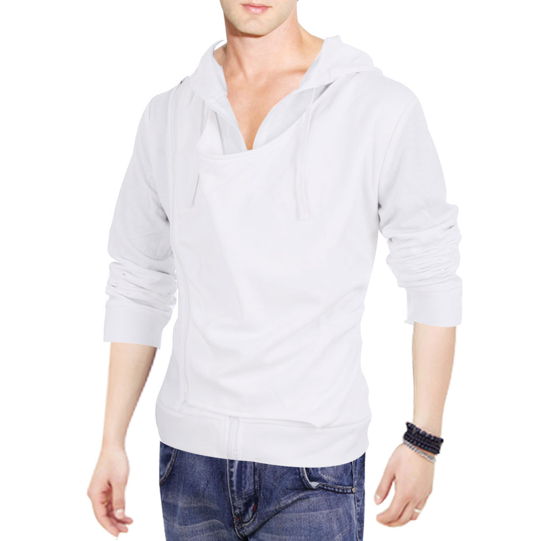 White M Solid Color Long Sleeve Design Zipper Front Men Hoodies Jackets