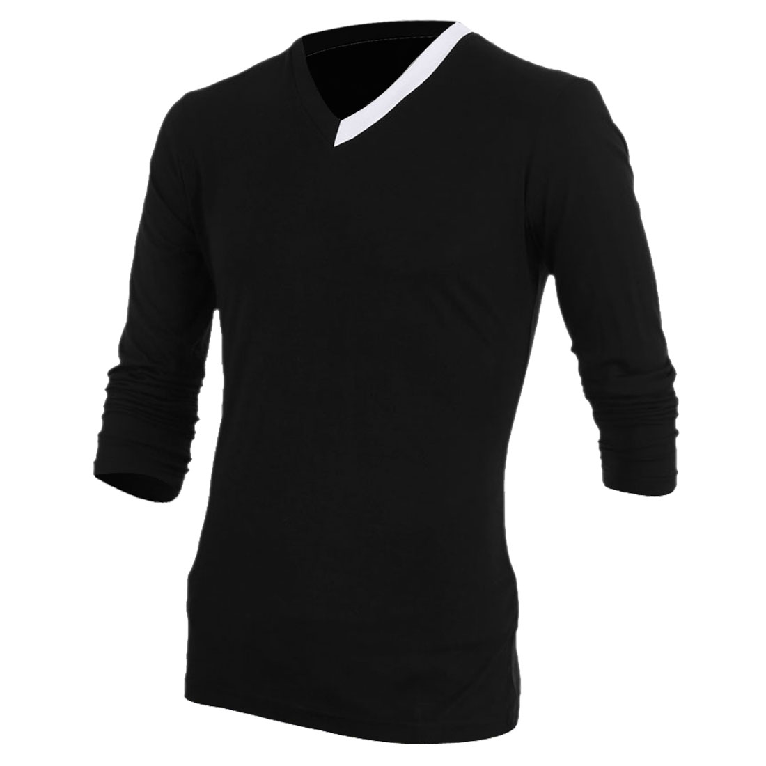 Man Chic Splice Detail V Neck Long Sleeve Black Casual Spring Tops M
