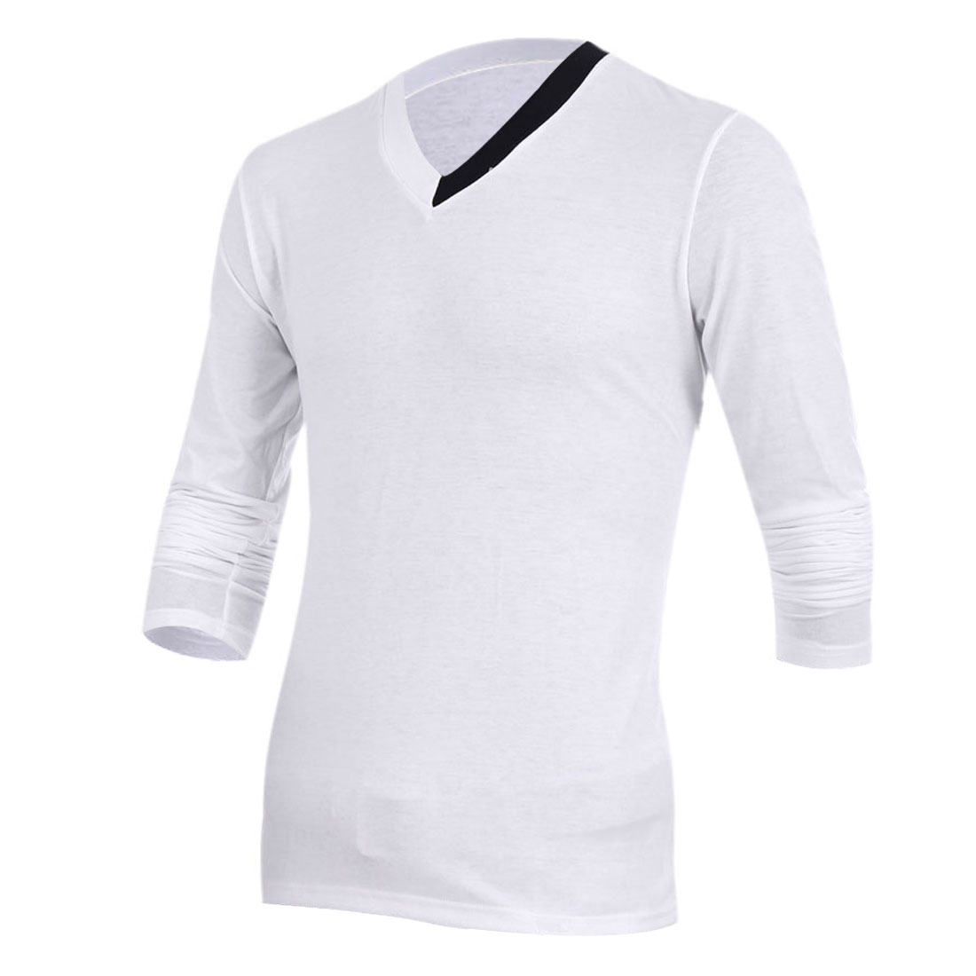Mans New Fashion Splice Detail V Neck Long Sleeve White Spring Top Shirt M