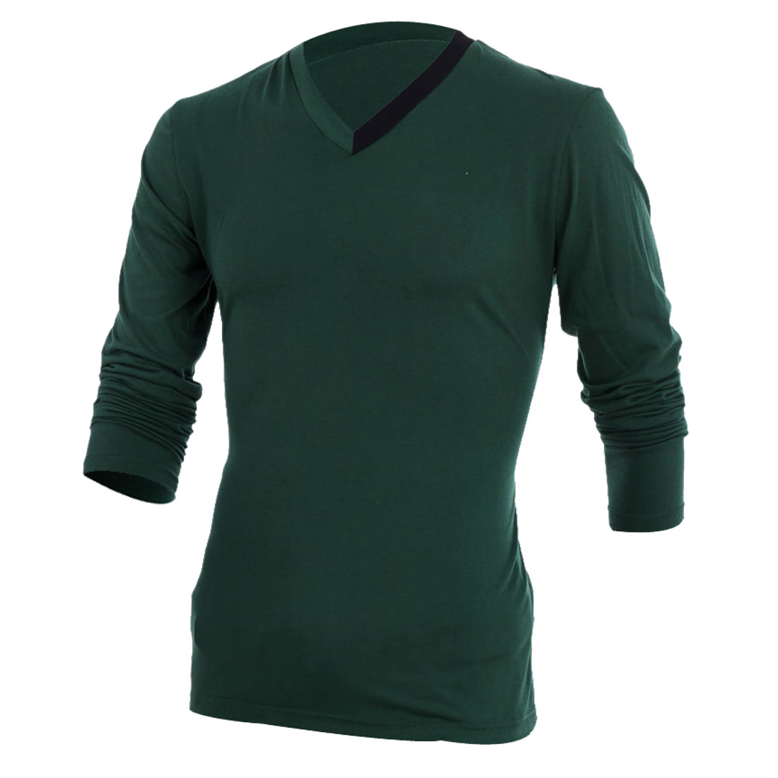 Mens Chic Splice V Neck Long Sleeve Design Slim Fit Dark Green Top Shirt M