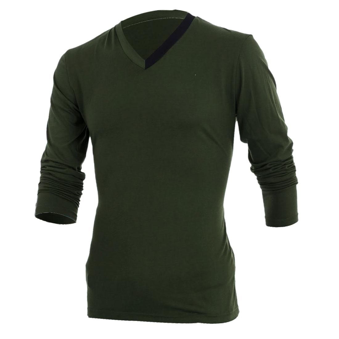 Stylish Mans Olive Green V Neck Long Sleeve Slim Fit Top Shirt M