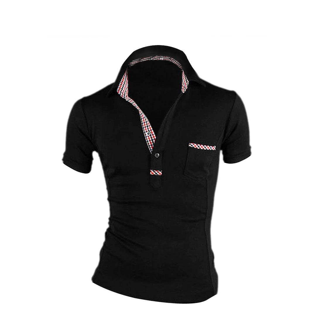Man New Fashion Chest Patch Pocket Design Black Summer Polo Shirt M