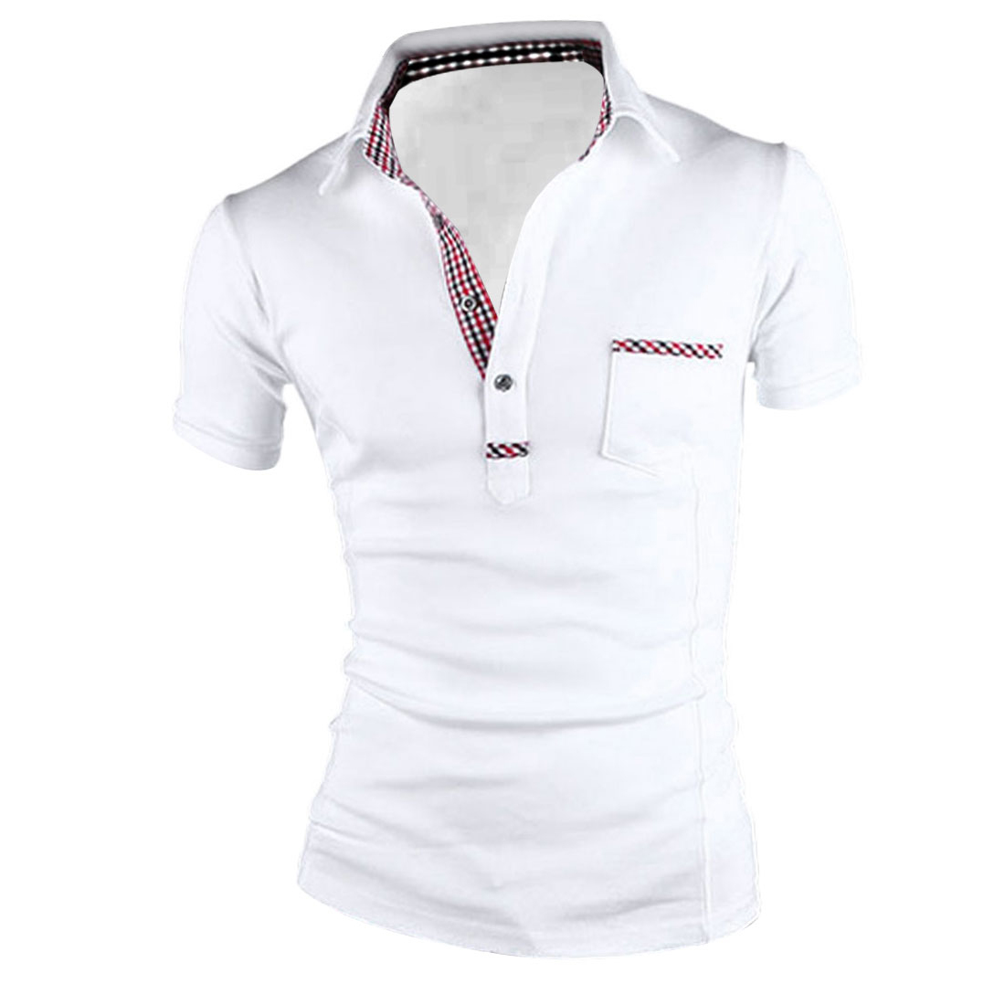 Mens Point Collar Short Sleeved Check Pattern Detail White Polo Shirt M