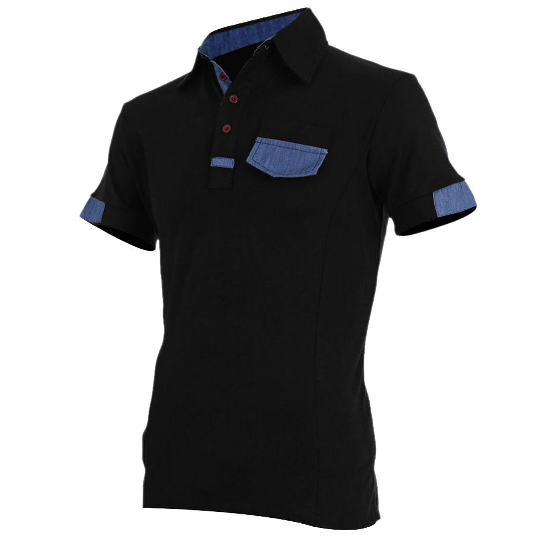 Men Fake Chest Pocket Decor Fitted Short Sleeve Polo Shirt Black M