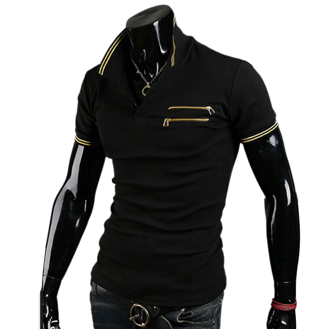 Men Stylish Short Sleeve Stripes Prints Detail Buttoned Black Polo Shirt M