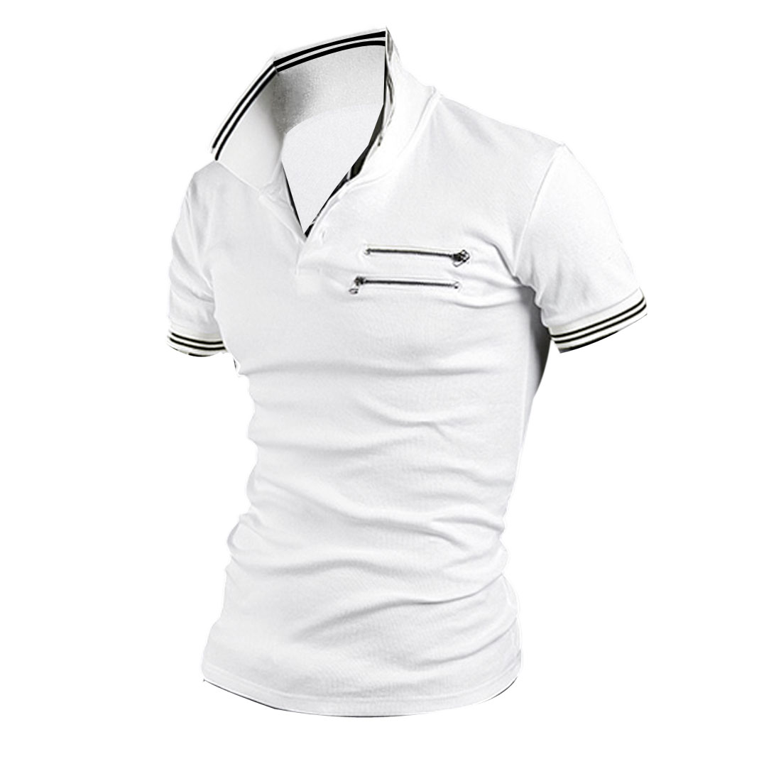 Men Point Collar Zip Decor Front Slim Fit Elastic Polo Shirt White M