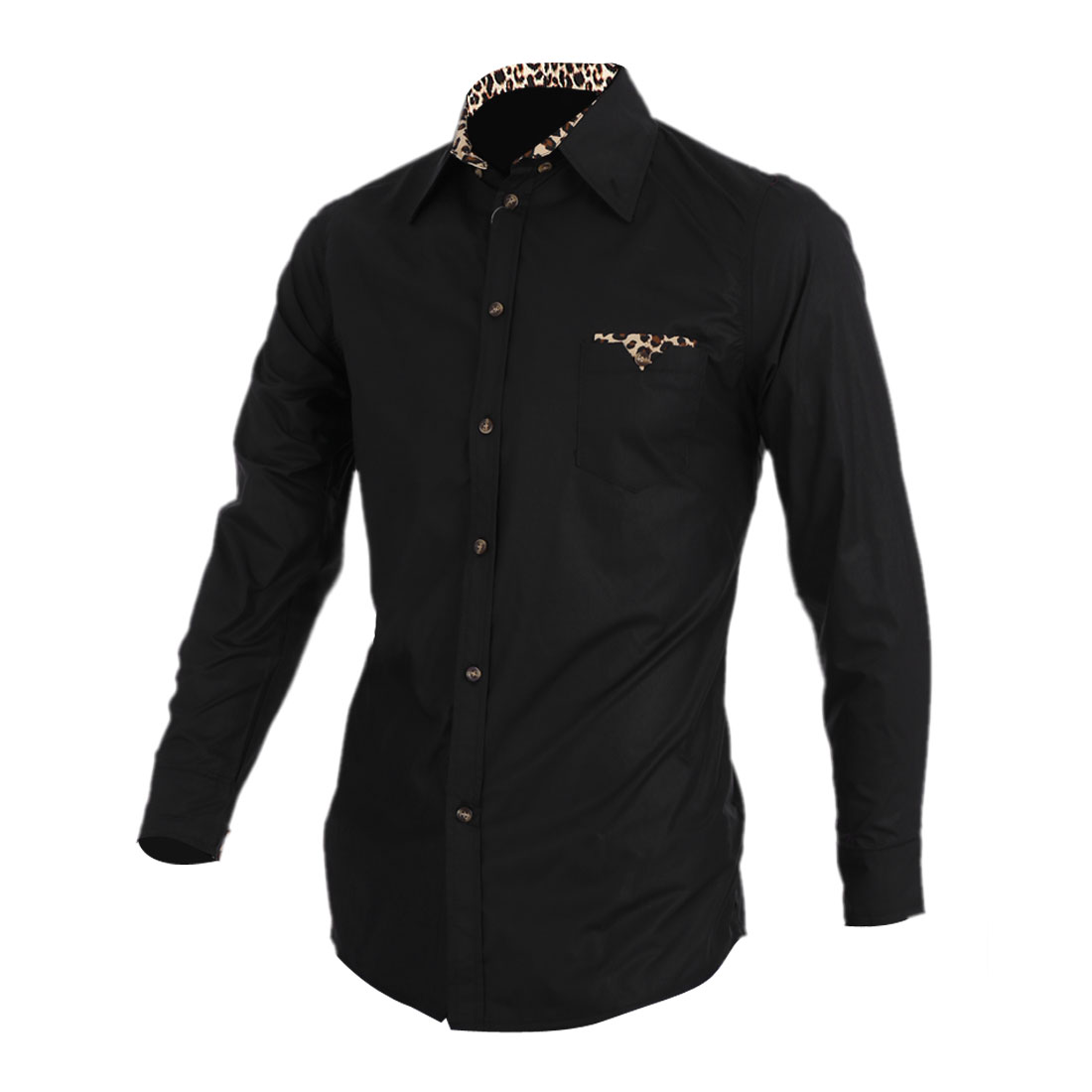 Men Point Collar Leopard Decor Chest Pocket Shirt Black S