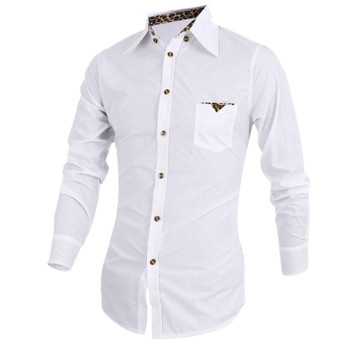 Men Single Breasted Long Sleeve Leopard Decor Shirt White S