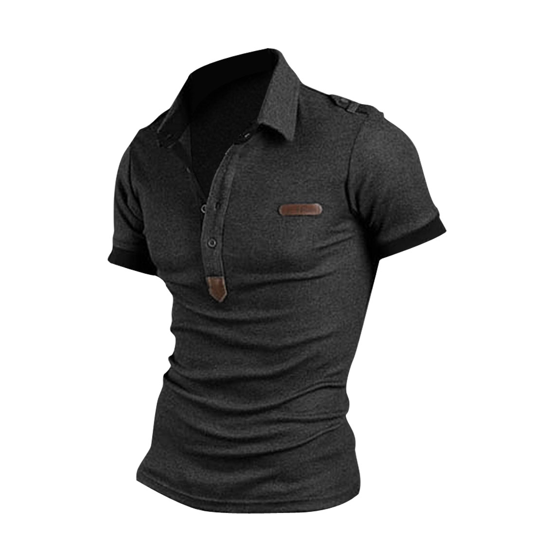 Men Pullover Point Collar Pure Dark Gray Button-tab Epaulets Polo Shirt M