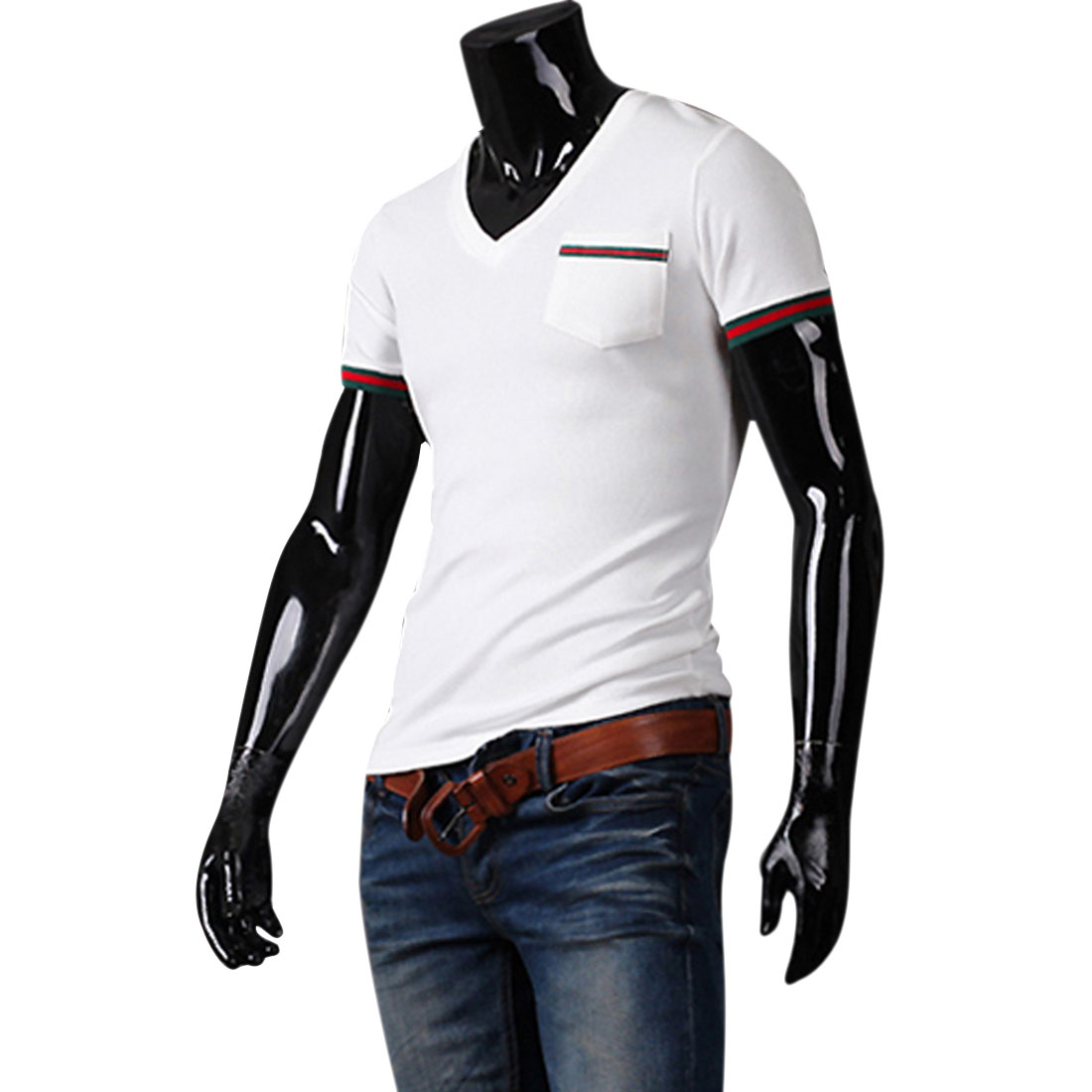 Men V Neck Short Sleeve Stripes Decor Pocket Shirt White M