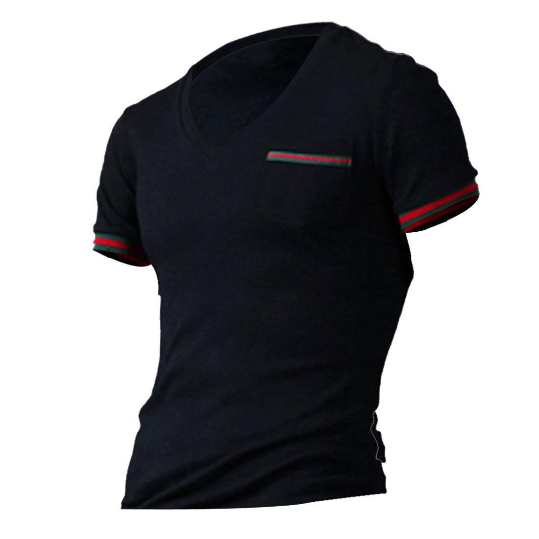 Men V Neck Pullover Stripes Ribbing Cuffs Shirt Navy Blue M