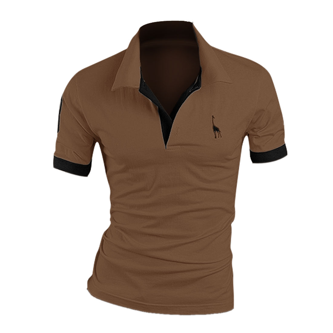 Men Color Contrast Short-sleeved Buttoned Up Front Shirt Coffee M