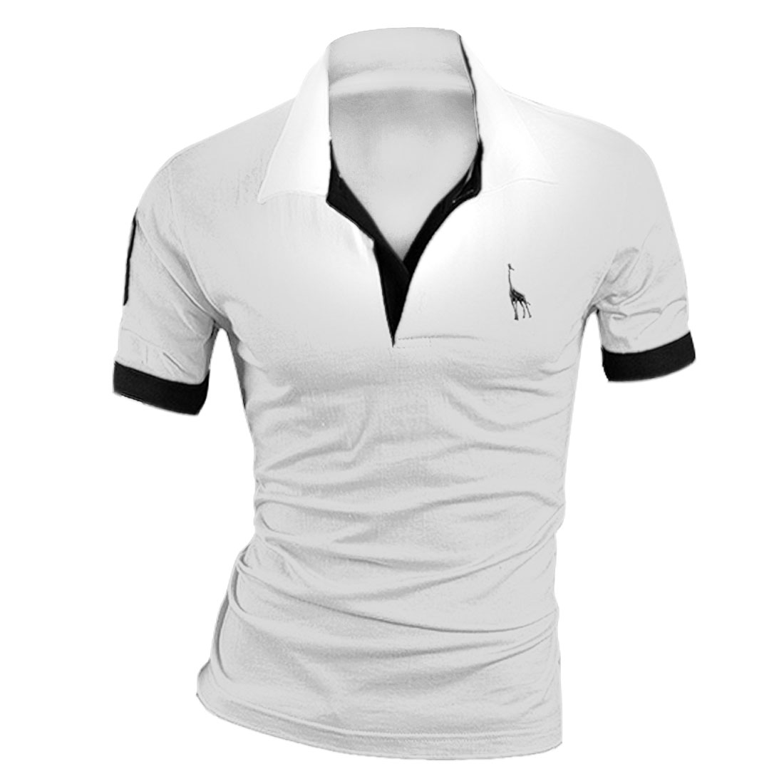 Man Buttons Upper Front Polo Figure Pattern Chic Shirts White M