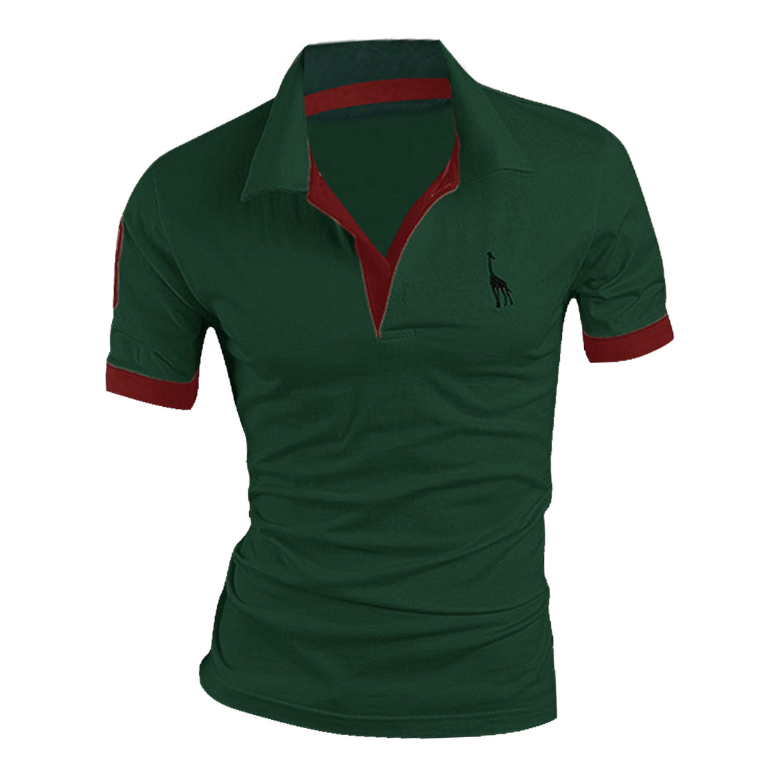 Man Korean Style Short Sleeved Point Collar Chic Shirts Green M