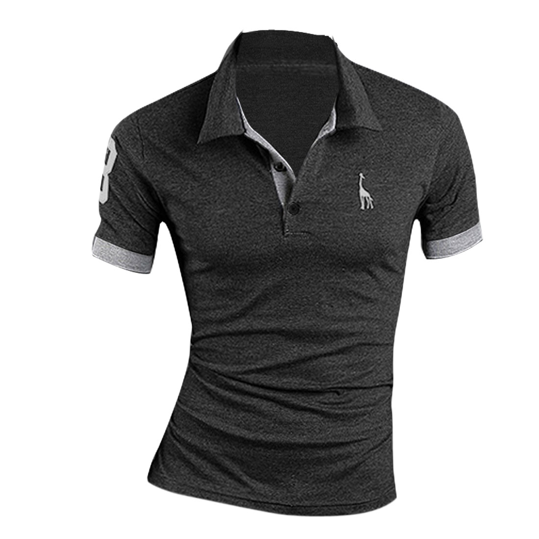 Men Deer Design Single Breasted Point Collar Polo Shirt Dark Gray M