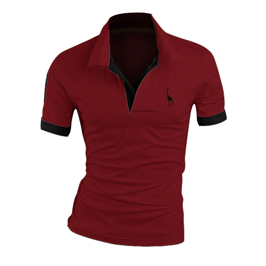 Man Buttons Upper Front Polo Number Pattern Modern Shirt Burgundy M