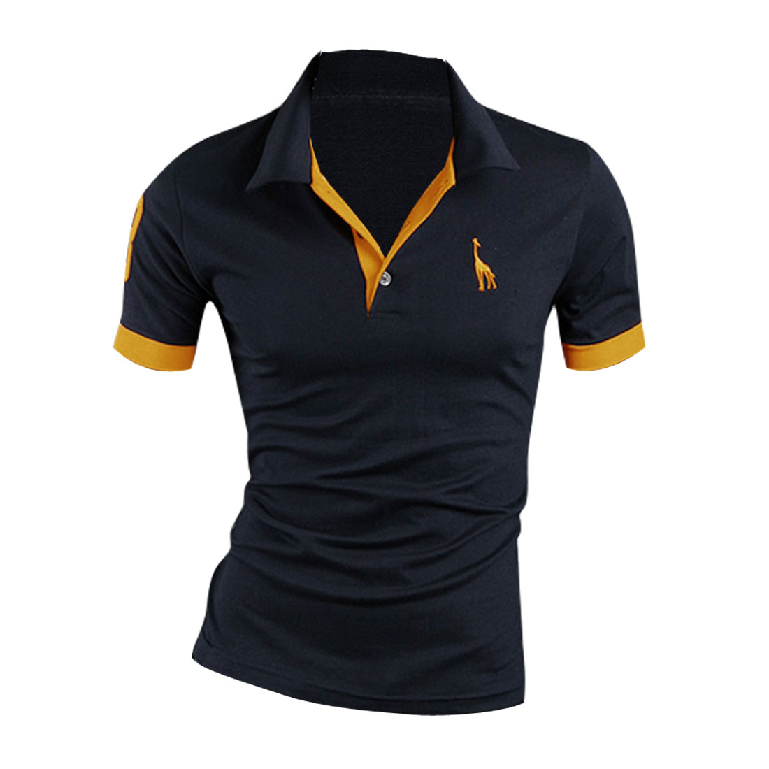 Man Buttons Upper Front Polo Number Pattern Tops Shirt Dark Blue M