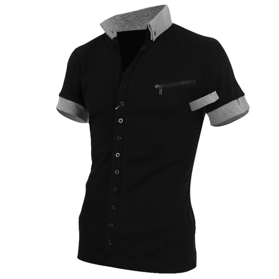 Men Button Front Style Short Sleeve Chest Zip Design Casual Shirt L Black