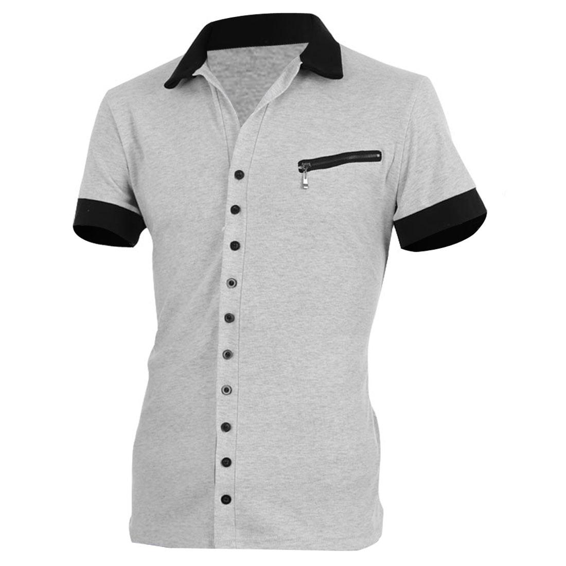 Men Point Collar Front Button Closure Short Sleeve Shirt Light Gray L