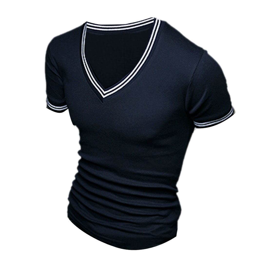 Man New Style Short Sleeve Elastic Striped Cuff Dark Blue Basic Shirt S