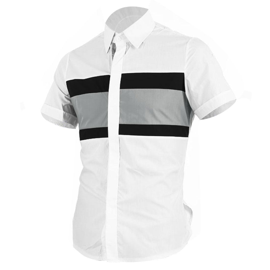 Men Hidden Buttons Front Short Sleeve Slim Fit Shirt White M