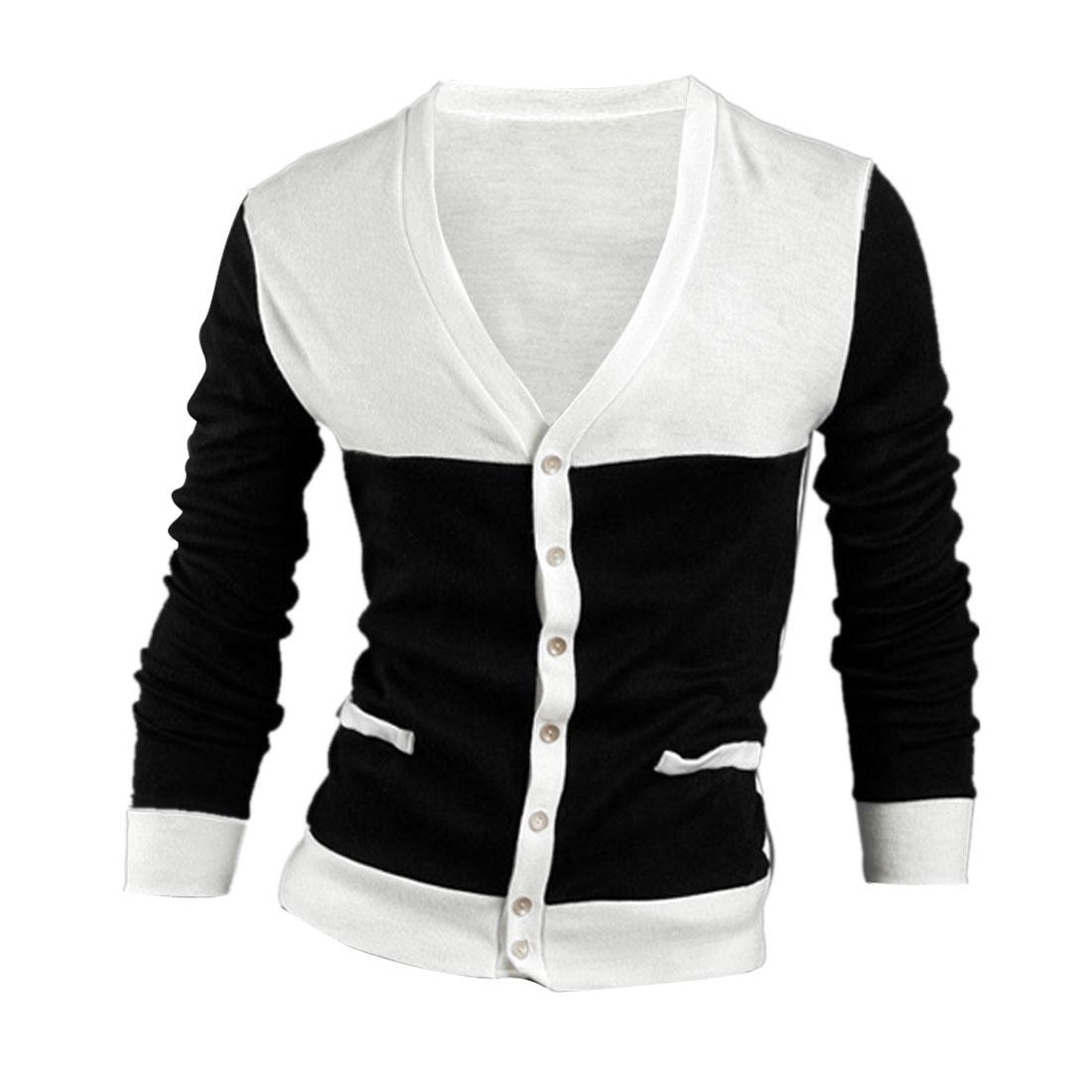 Men V Neck Buttons Up Fake Pockets Decor Black White Cardigan S