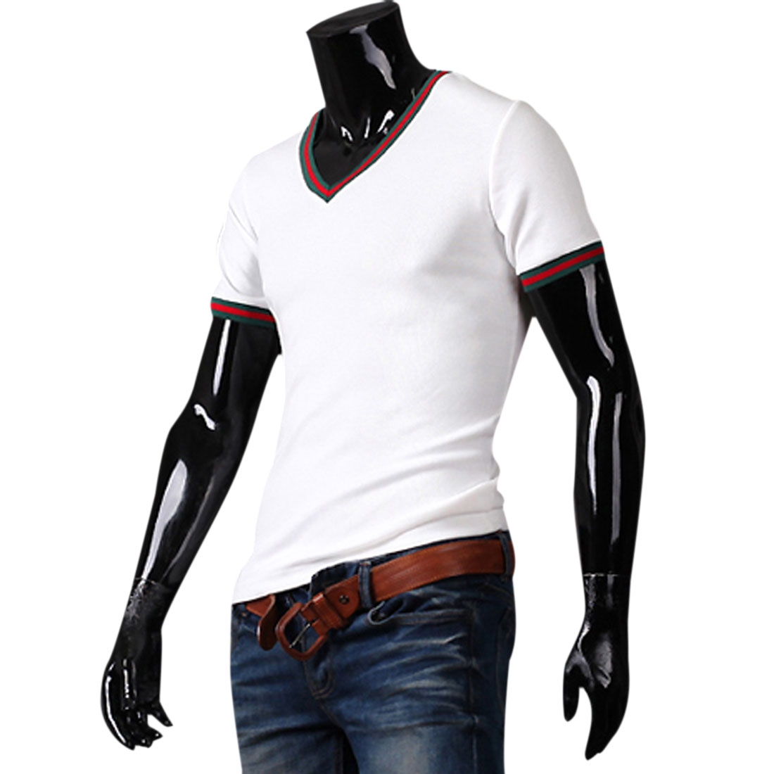 Men Short Sleeve Stripes Pattern Detail Fitted White T-Shirt S