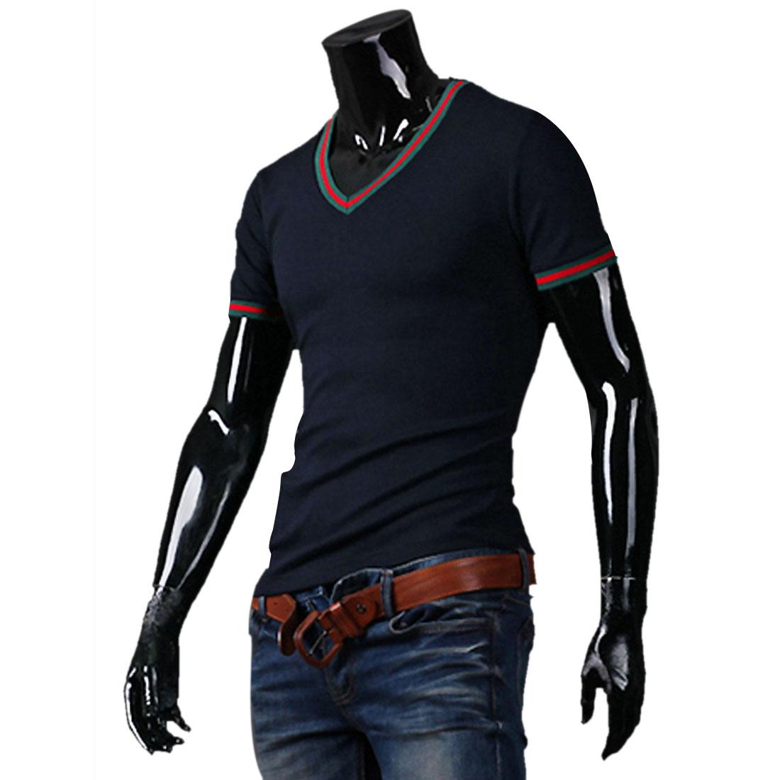 Men Casual V Neck Slim Fit Navy Blue Tee Shirt S
