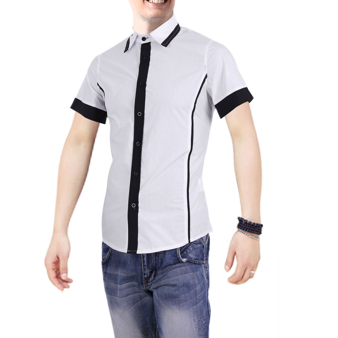 Men Fitted Point Collar Buttons Front White Fashion Shirt M