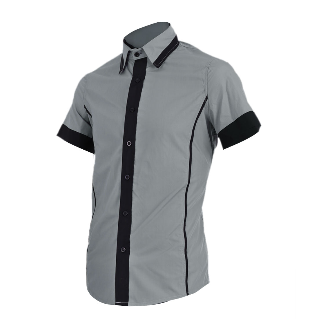 Men Stylish Point Collar Single Breasted Gray Straight Shirt M