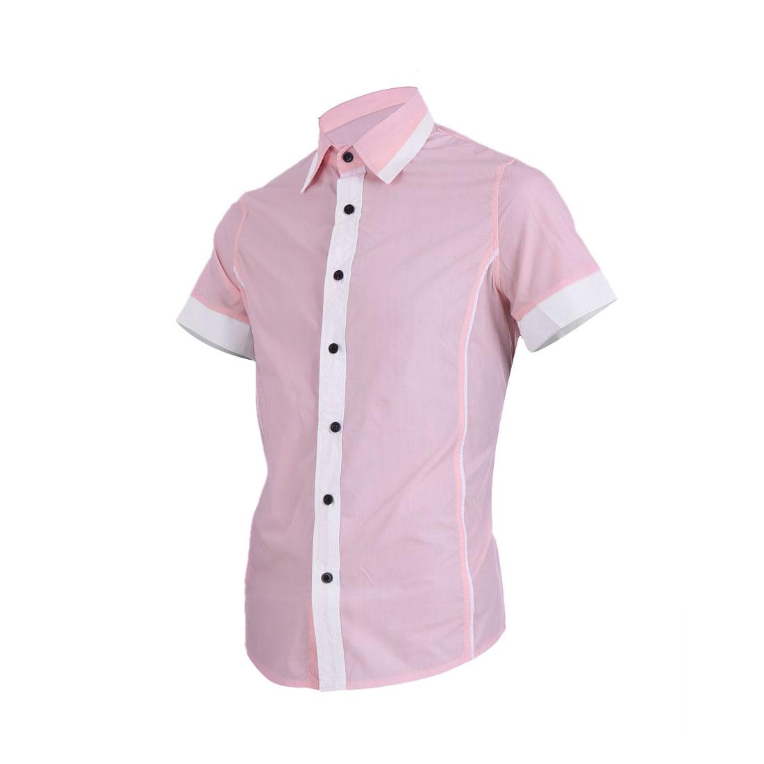 Men Short Sleeve Single Breasted Slim Fit Light Pink Shirt M