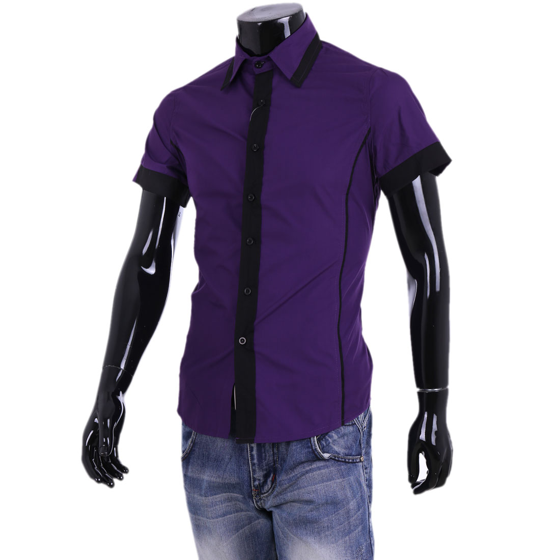 Men New Purple Short Sleeve Buttoned Straight Shirt M