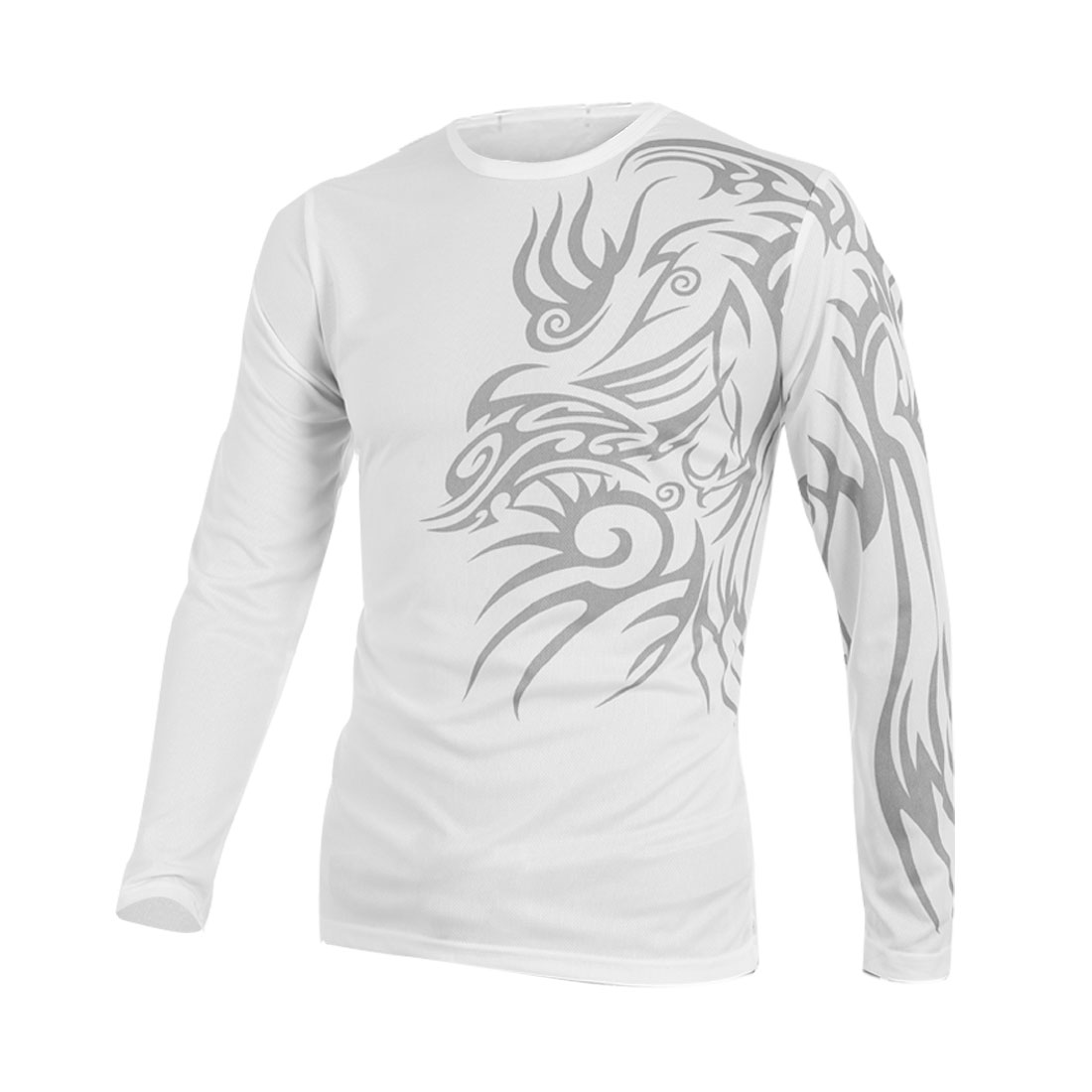 Men Round Neck Long Sleeve Tribal Pattern Style Shirt M White
