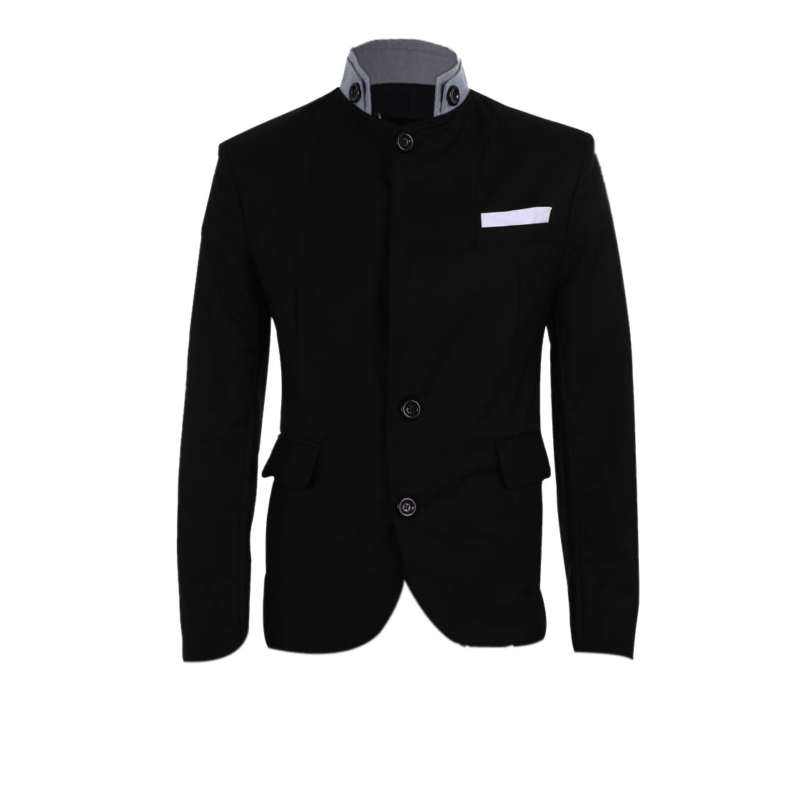 Black M Front Button Closure Two Flap Pockets Design Men Casual Blazer
