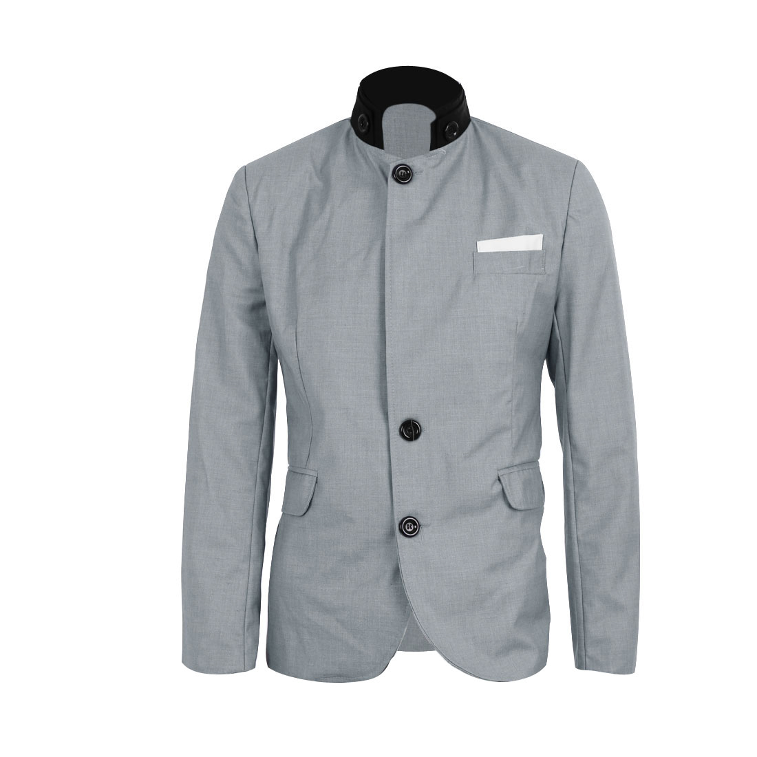 M Men Patch Pockets Stand Collar Long Sleeve Fashion Outerwear Blazer Grey