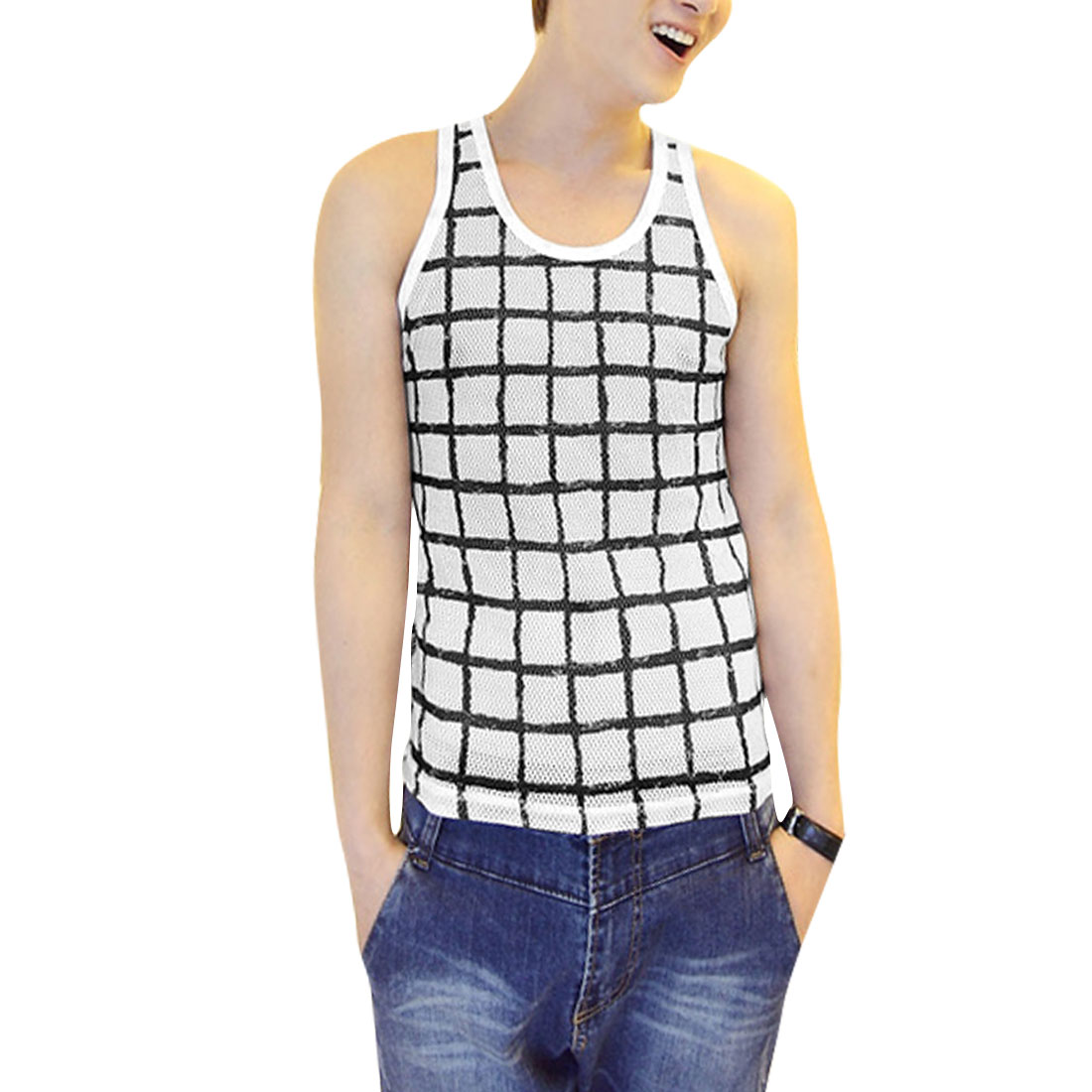 Men U Neck Pullover Sleeveless Plaids Hollow Out Tank Top White S