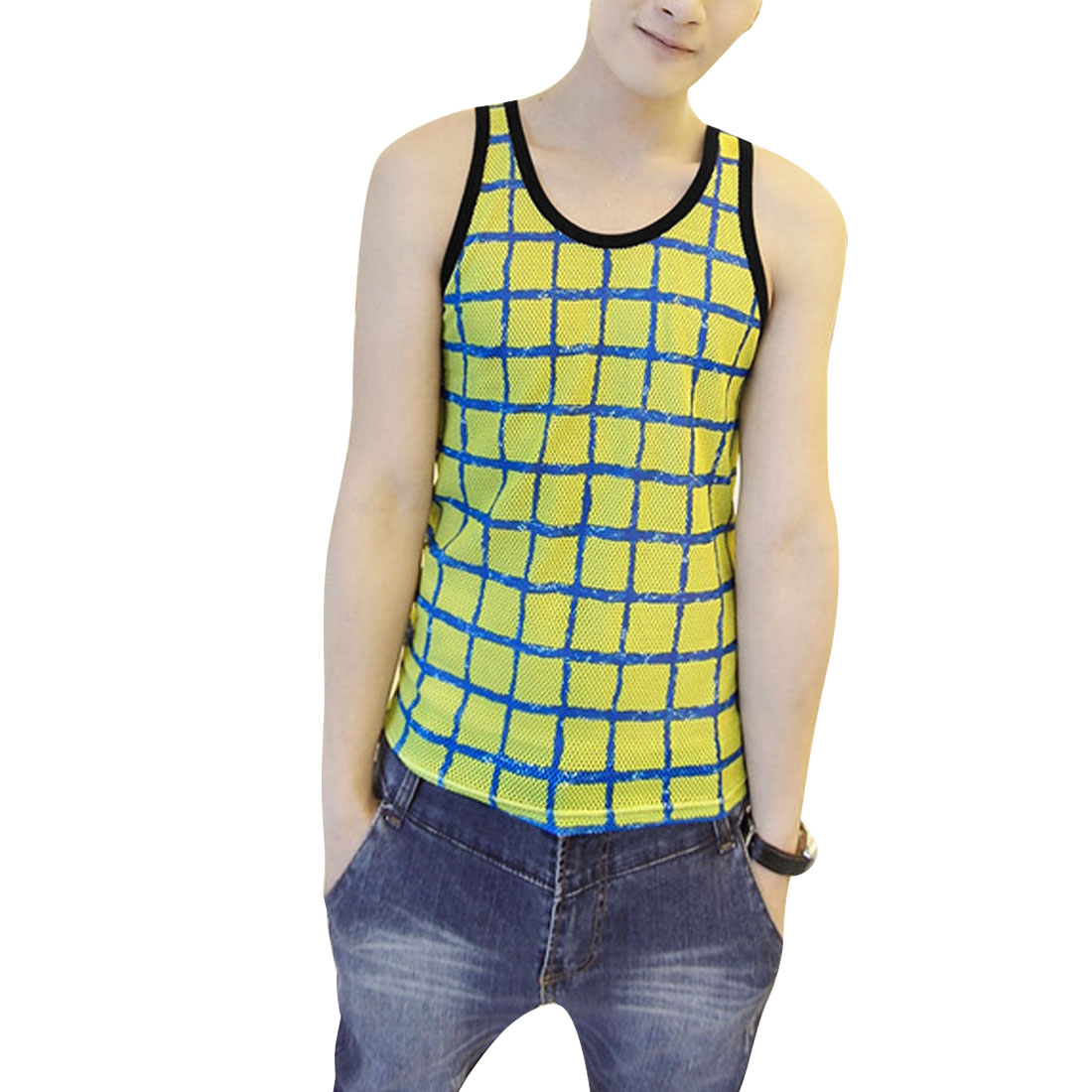 Men U Neck Pullover Sleeveless Plaids Panel Tank Top Lime Black S