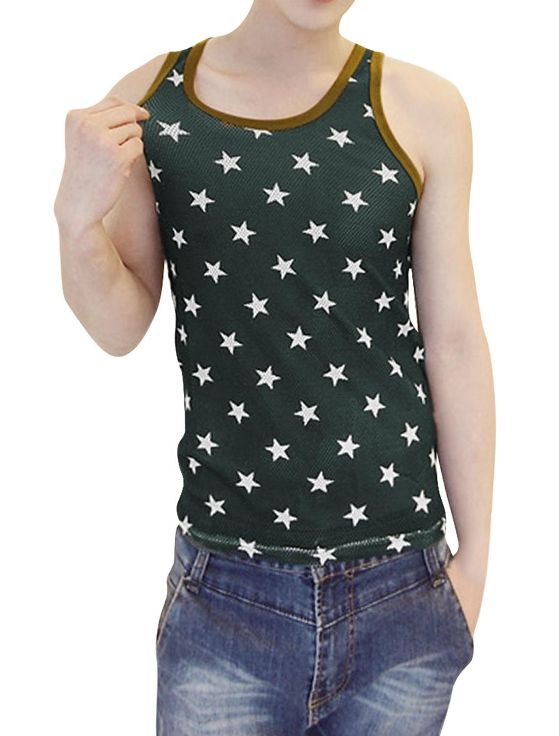 Men Stars Pattern U Neck Sleeveless Design Pullover Tank Top S Olive Green