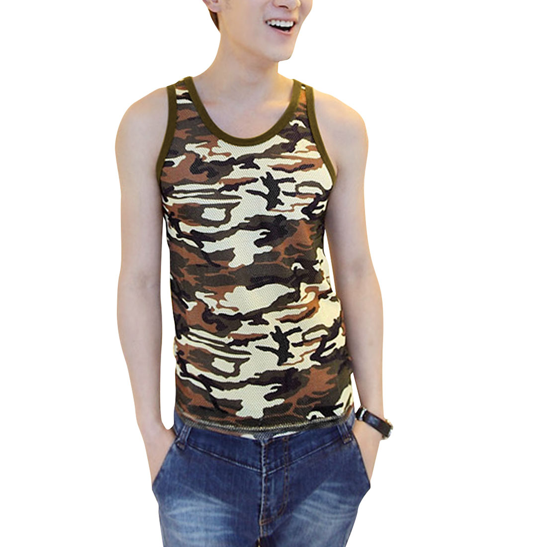 Men Camouflage Pattern U Neck Sleeveless Pullover Tank Top Olive Green S