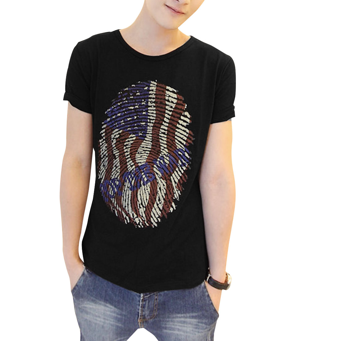 Men Round Neck Novelty Pattern Short Sleeve Design Graphic T-Shirt Black M